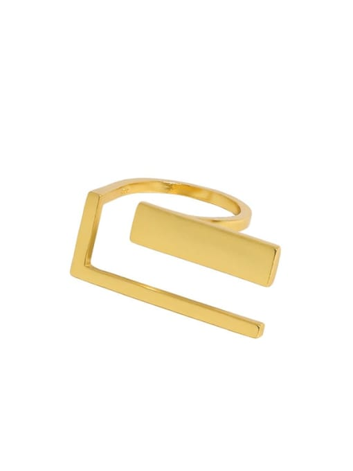 18K gold [13 adjustable] 925 Sterling Silver Geometric Vintage Band Ring